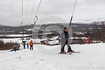 Young boy on a ski lift Editorial Photography