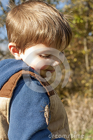 boy looking at bug outside