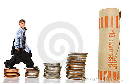 Young Boy in Suit Climbing Stacks of Money