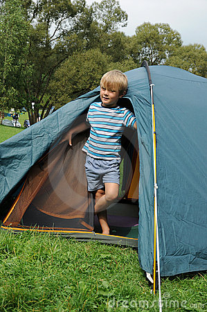 Young boy in tent