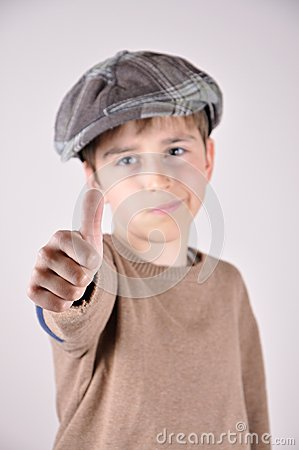 Young boy with a thumb up Stock Photo