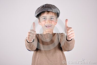 Young boy with thumbs up Stock Photo