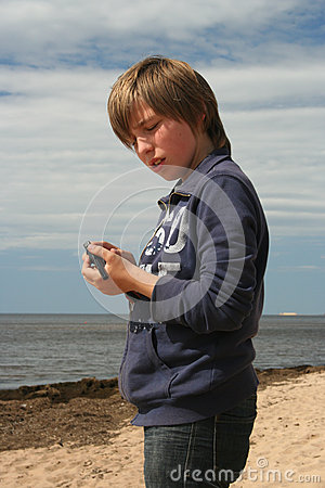 Young boy with a toy pistol