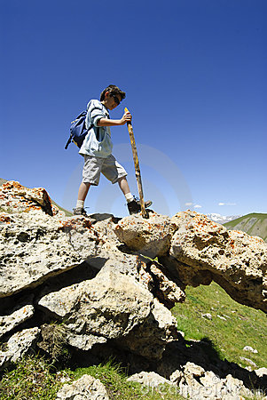 Young Boy Trekking
