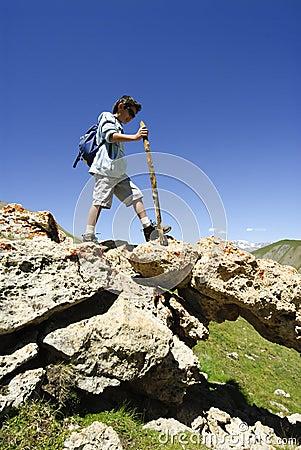 Young Boy Trekking