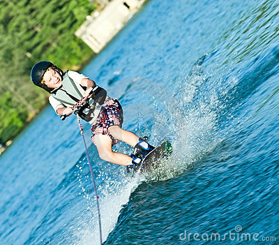 Young Boy on Wakeboard