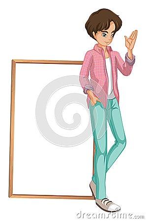 A young boy waving