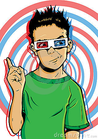 Young boy wearing 3D glasses