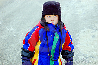 Young Boy In Winter Clothing
