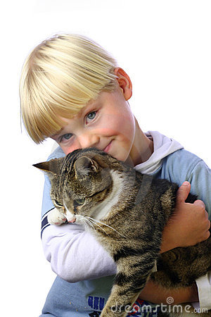Free Young Boy With Cat Stock Image - 247561