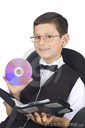 Free Young Boy With Cd Stock Image - 5253611