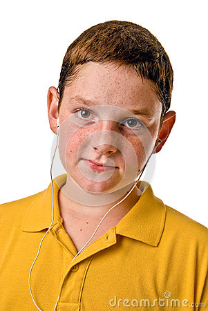 Free Young Boy With Ear Buds Stock Photo - 29995480