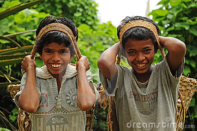 Young boys as porters, India Editorial Stock Photo