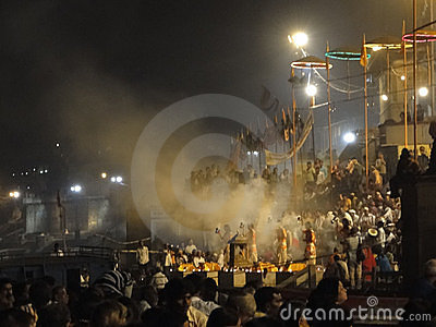 Young Brahmin priests conduct aarti Editorial Stock Photo