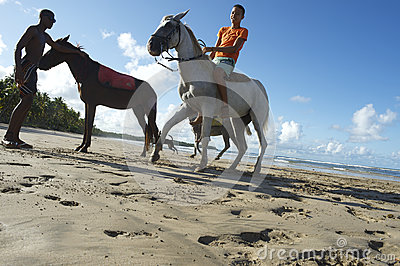 Young Brazilians Riding Horses Bahia Beach Brazil Editorial Stock Image