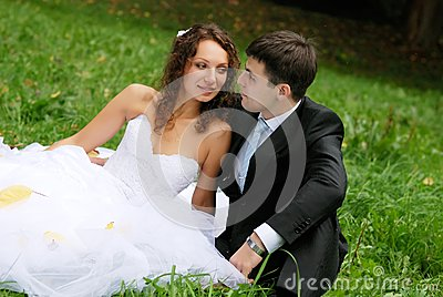 Young bride with bridegroom