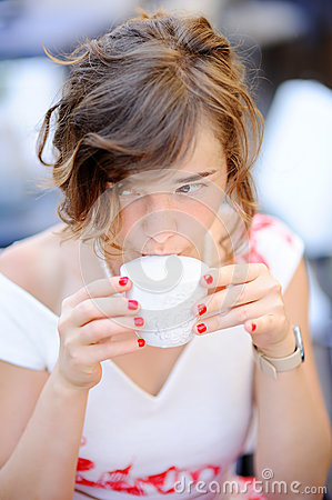 Free Young Bride Drinking Coffee During Her Wedding Day Stock Photos - 74261533