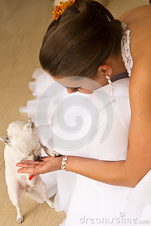 Young bride with pet dog