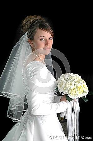Young Bride Portrait on Black