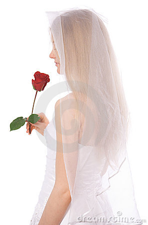 Young bride with rose