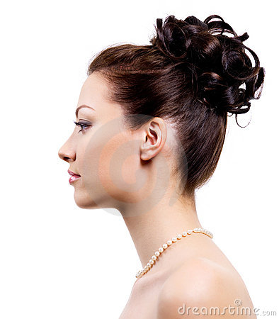 Young bride with wedding hairstyle