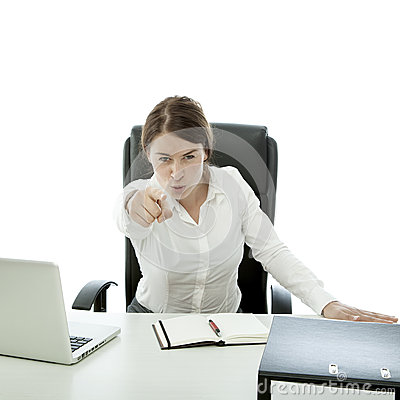 Young brunette business woman want you behind desk