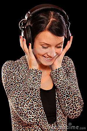Young brunette with ear-phones