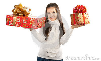 Young brunette girl holding two gifts