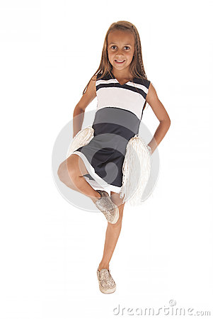 Free Young Brunette Girl In Cheerleading Outfit With Leg Up Royalty Free Stock Photography - 34126917