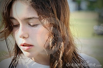 Young brunette Girl troubled