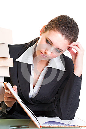 Free Young Brunette Hardly Studying From The Book Stock Images - 29456874