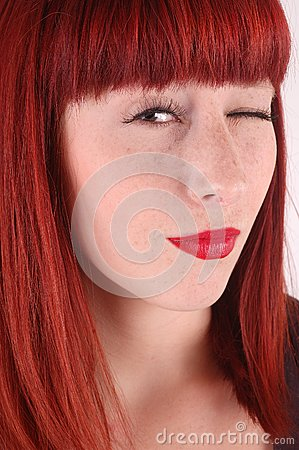Young brunette with peeping eye