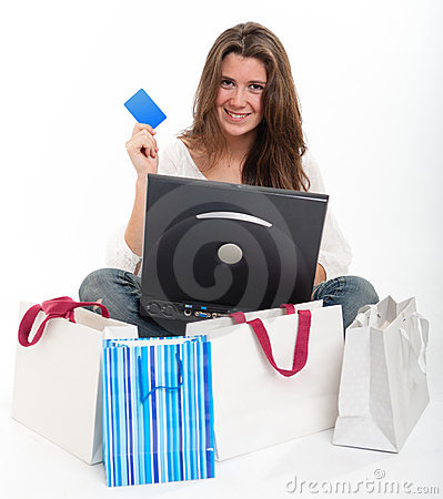 Young brunette shopping online