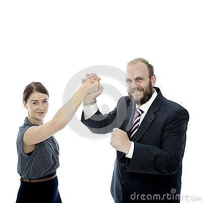 Young brunette woman beard business man handshake