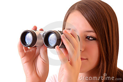 Young brunette woman with binocular