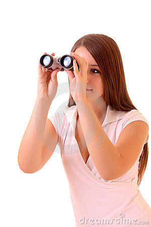 Young brunette woman with binocular isolated