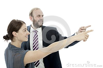 Young brunette woman and business man point left