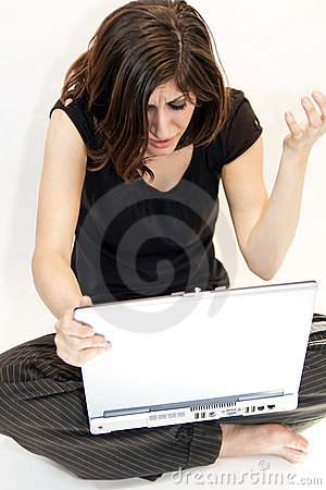 Young Brunette Woman Get Bad News On Computer