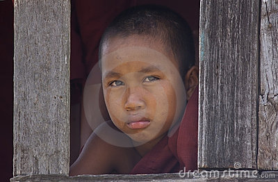 Young Buddhist Monk in Myanmar (Burma) Editorial Photography