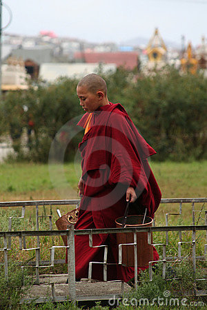 Young buddhist monk in ulan bator in mongolia Editorial Photo