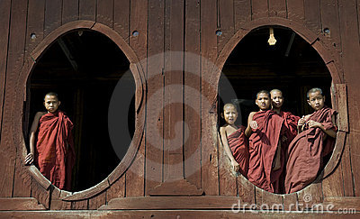 Young Buddhist Monks 2 Editorial Image