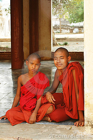 Young Buddhist monks in Bagan, Burma (Myanmar) Editorial Photo