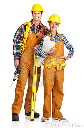 Young builder people