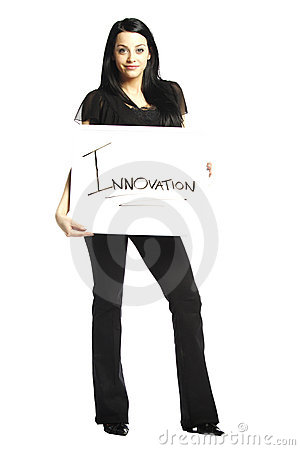 Young business casual woman holding white board