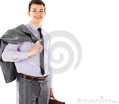 Young business man with briefcase portrait