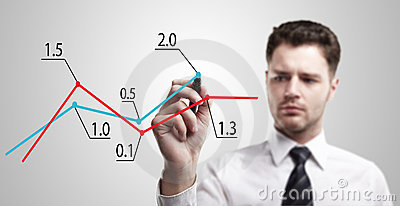 Young business man drawing a graph on a glass wind