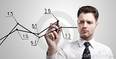 Young business man drawing a rise graph