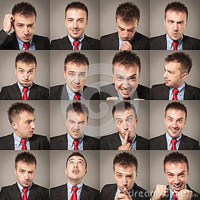 Free Young Business Man Face Expressions Composite Royalty Free Stock Photos - 51174338
