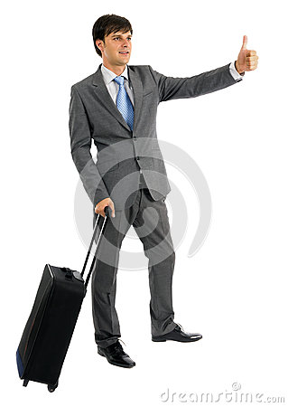 Young business man with his trolley bag