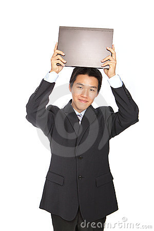 Young business man holding notebook